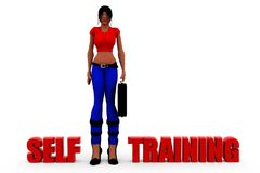 3d woman self trainig concept Royalty Free Stock Photos