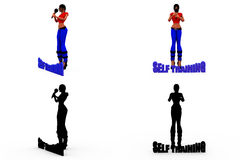 3d woman self training concept Collections With Alpha And Shadow Channel Royalty Free Stock Photos