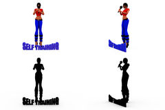3d woman self training concept Collections With Alpha And Shadow Channel Royalty Free Stock Images