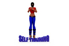 3d woman self training concept Stock Photography