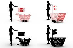 3d woman sell buy concept collections with alpha and shadow channel Royalty Free Stock Photo