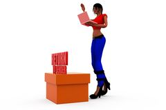 3d woman sender concept Royalty Free Stock Images