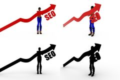 3d woman SEO Concept Collections With Alpha And Shadow Channel Stock Photo
