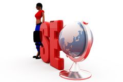 3d woman seo concept Royalty Free Stock Photos