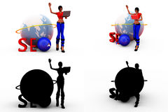 3d woman seo earth concept Collections With Alpha And Shadow Channel Stock Photography