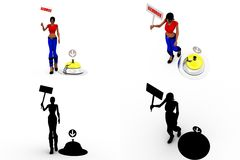 3d woman service bell Concept Collections With Alpha And Shadow Channel Royalty Free Stock Photo