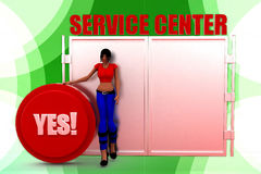3D woman service center Royalty Free Stock Photography