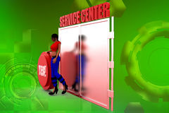 3D woman service center Stock Photo