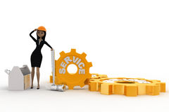 3d woman with service gears and mechanical gears concept Royalty Free Stock Photo