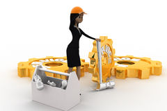 3d woman with service gears and mechanical gears concept Stock Images