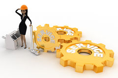 3d woman with service gears and mechanical gears concept Stock Photography