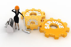 3d woman with service gears and mechanical gears concept Royalty Free Stock Photos