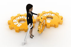 3d woman with service  gears and mechanical wrenchs concept Stock Photography
