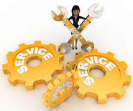3d woman with service  gears and mechanical wrenchs concept Royalty Free Stock Photos