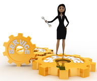 3d woman with service gears and wrench for repair concept Royalty Free Stock Photo