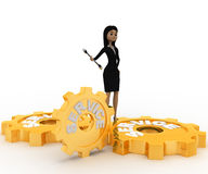 3d woman with service gears and wrench for repair concept Stock Photography