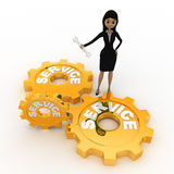 3d woman with service gears and wrench for repair concept Stock Photos