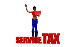 3d woman service tax concept Royalty Free Stock Image