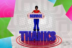 3d woman service thanks illustration Stock Photos