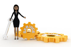 3d woman with service wrench and gears concept Royalty Free Stock Photos