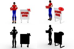 3d woman shop special offer Concept Collections With Alpha And Shadow Channel Stock Photo