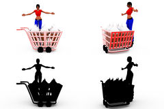 3d woman shopping cart concept Collections With Alpha And Shadow Channel Stock Images