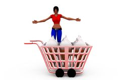 3d woman shopping cart concept Royalty Free Stock Images