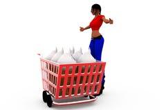 3d woman shopping cart concept Stock Photos