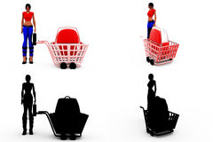 3d woman shopping concept Collections With Alpha And Shadow Channel Stock Images