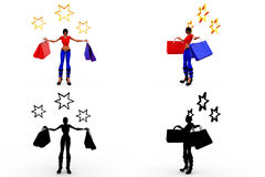 3d woman shopping star concept Collections With Alpha And Shadow Channel Stock Images