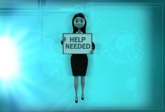 3d woman showing banner of help needed illustration Stock Image