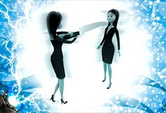 3d woman showing big knife to another woman illustration Stock Photos