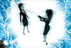 3d woman showing big knife to another woman illustration Royalty Free Stock Images