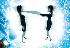 3d woman showing big knife to another woman illustration Royalty Free Stock Photos