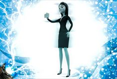 3d woman showing golden card illustration Stock Photo