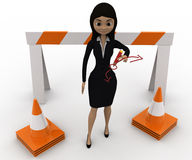3d woman showing other ways and stop straight way using barrier and cones concept Royalty Free Stock Photography