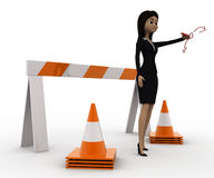 3d woman showing other ways and stop straight way using barrier and cones concept Royalty Free Stock Photos