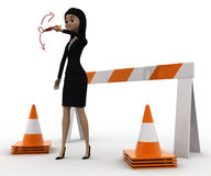 3d woman showing other ways and stop straight way using barrier and cones concept Royalty Free Stock Photo