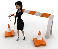 3d woman showing other ways and stop straight way using barrier and cones concept Stock Image