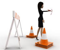 3d woman showing other ways and stop straight way using barrier and cones concept Stock Images