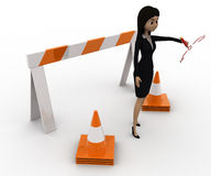 3d woman showing other ways and stop straight way using barrier and cones concept Royalty Free Stock Image