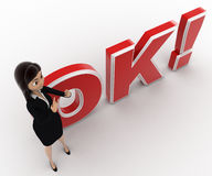 3d woman showing style and standing in front OK text with exclamation mark concept Royalty Free Stock Image