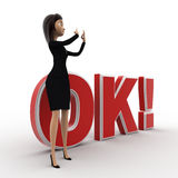 3d woman showing style and standing in front OK text with exclamation mark concept Stock Photos