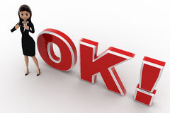 3d woman showing style and standing in front OK text with exclamation mark concept Stock Photo