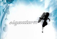 3d woman signature illustration Stock Photography