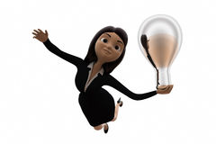 3d woman with silver bulb concept Royalty Free Stock Photo