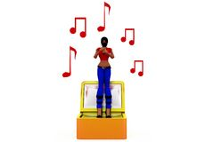 3d woman sing concept Royalty Free Stock Images