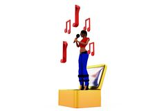 3d woman sing concept Royalty Free Stock Photos