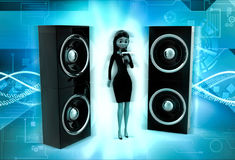 3d woman sing on micr with speakers concept Royalty Free Stock Photos