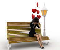 3d woman sitting on batch and in love with hearts flying concept Royalty Free Stock Photos